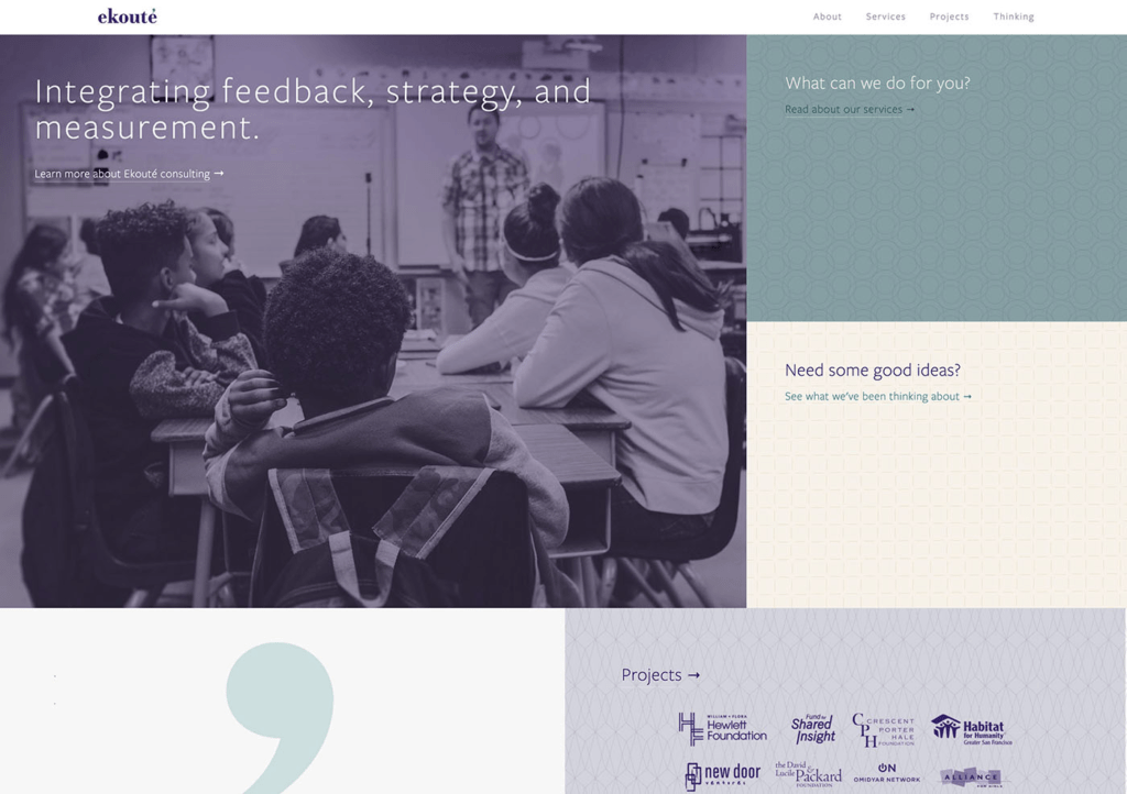 Ekoute's new web home page designed by Dayspring