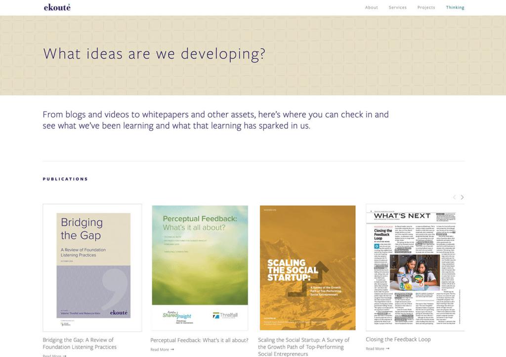 Ekoute's web thinking page