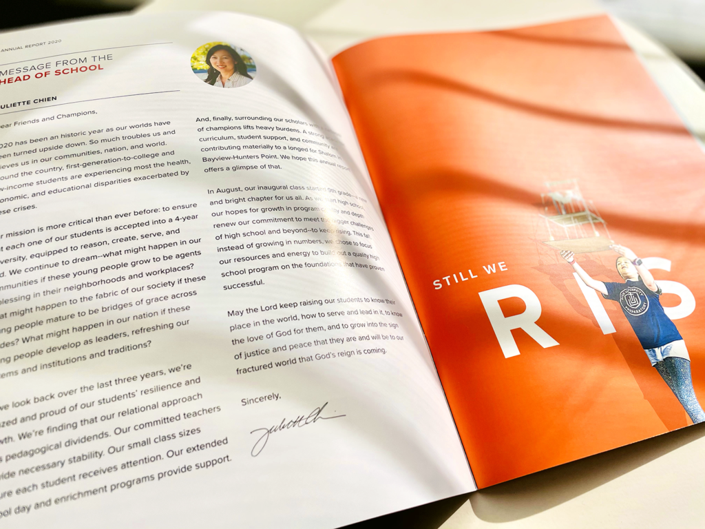 2020 rise prep annual report layout showing message from the head of school