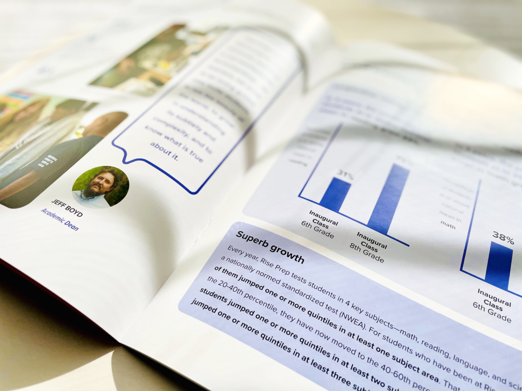 rise prep 2020 annual report pages showing academic growth