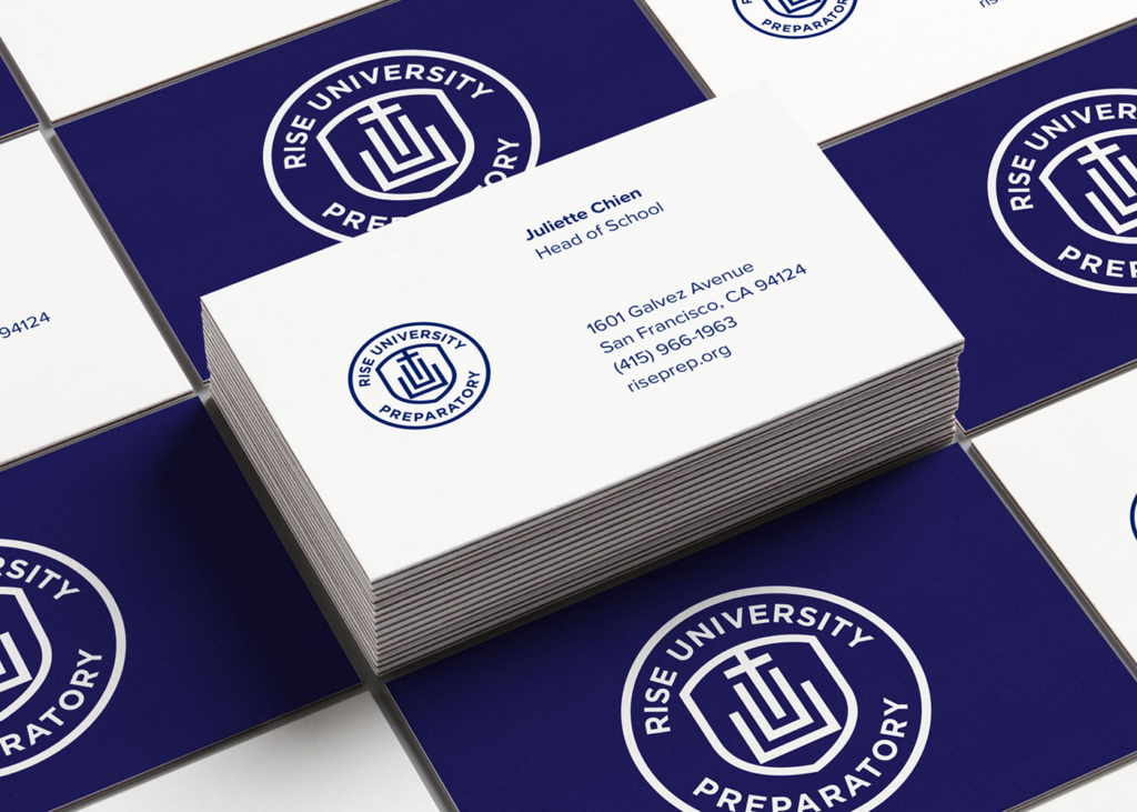 Rise Prep logo design featured on business cards