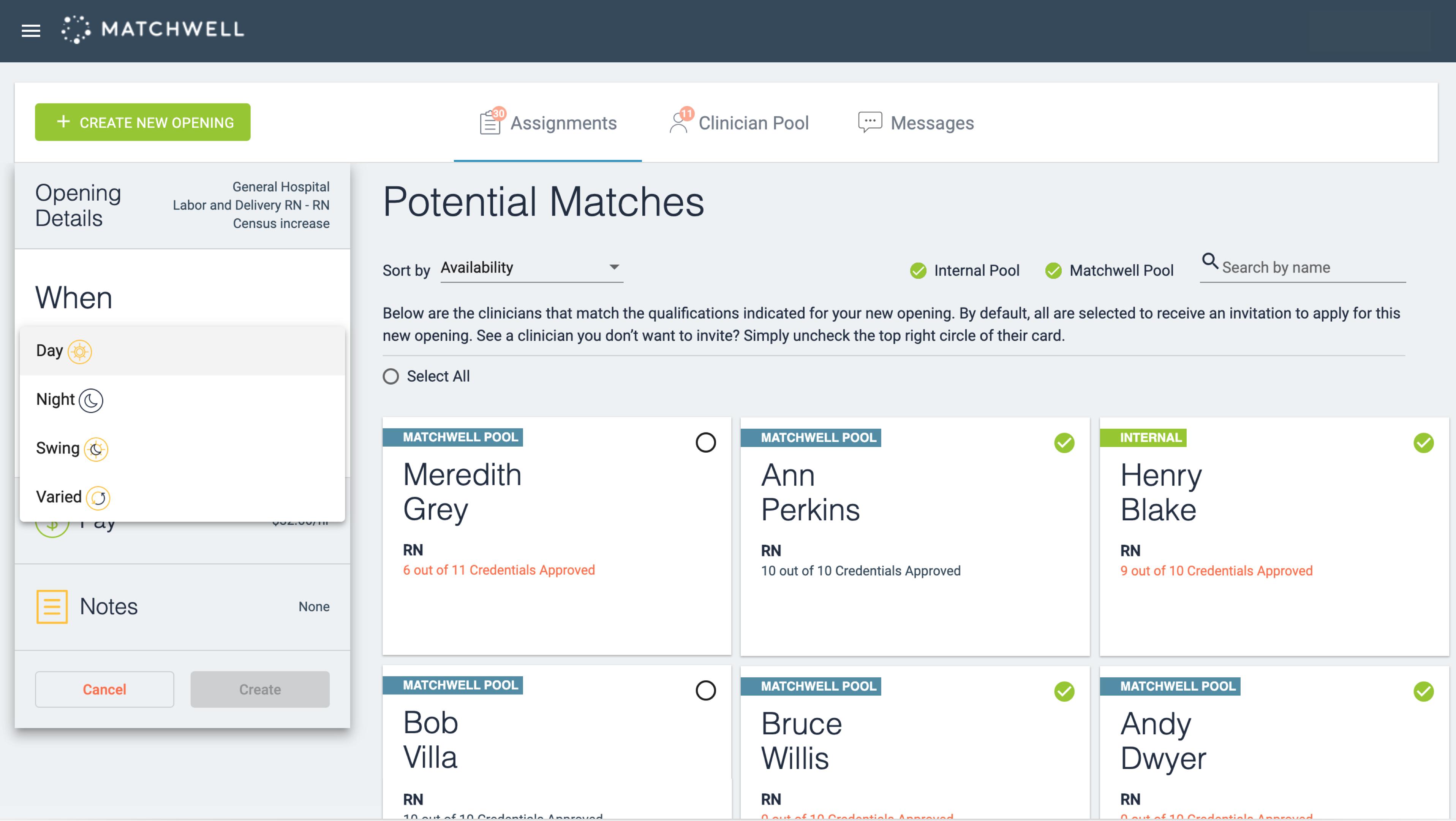 Healthcare facility view of custom web app interface