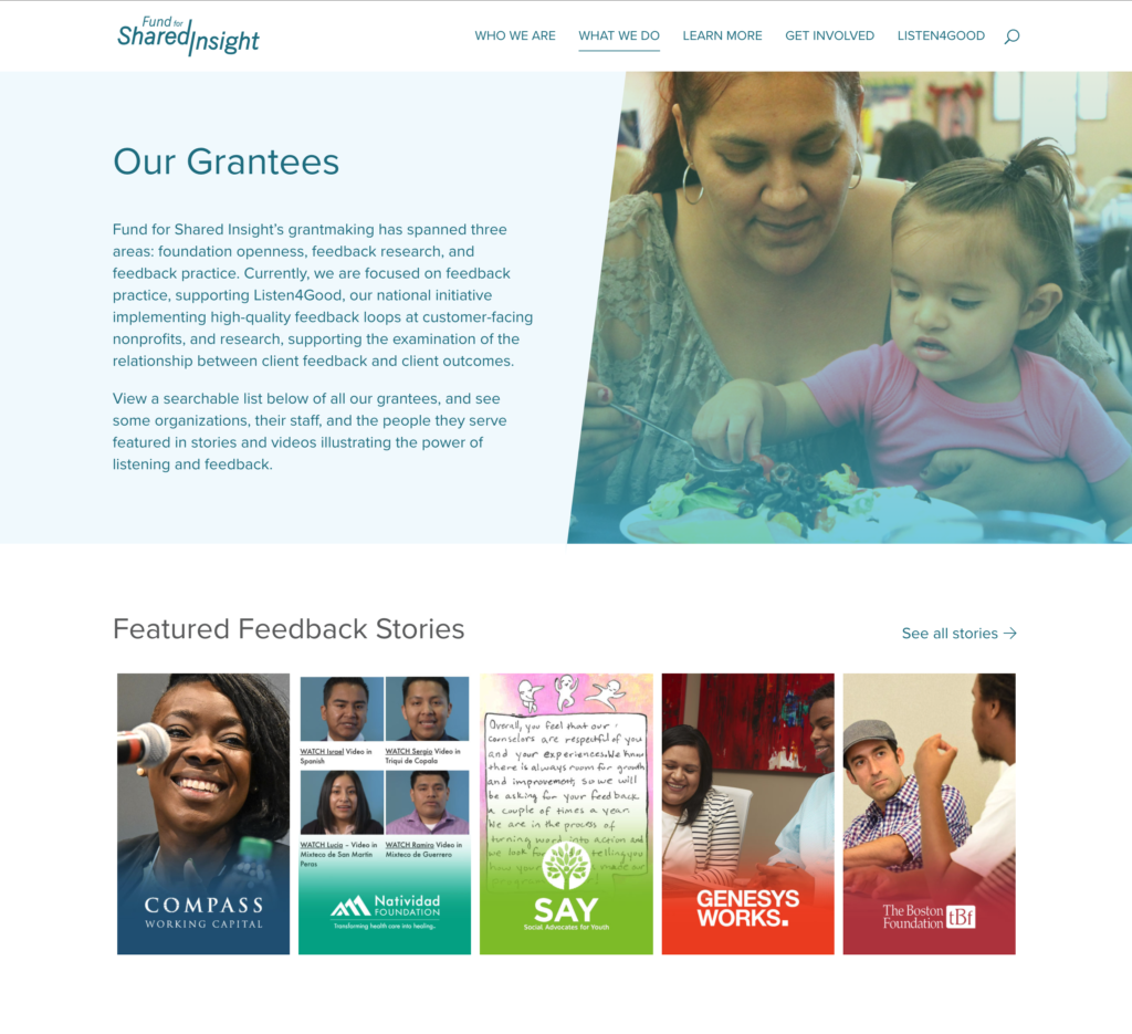 Fund for Shared Insight Grantees