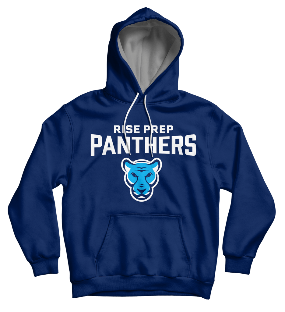 Rise Prep's branding for athletic apparel features the panther mascot