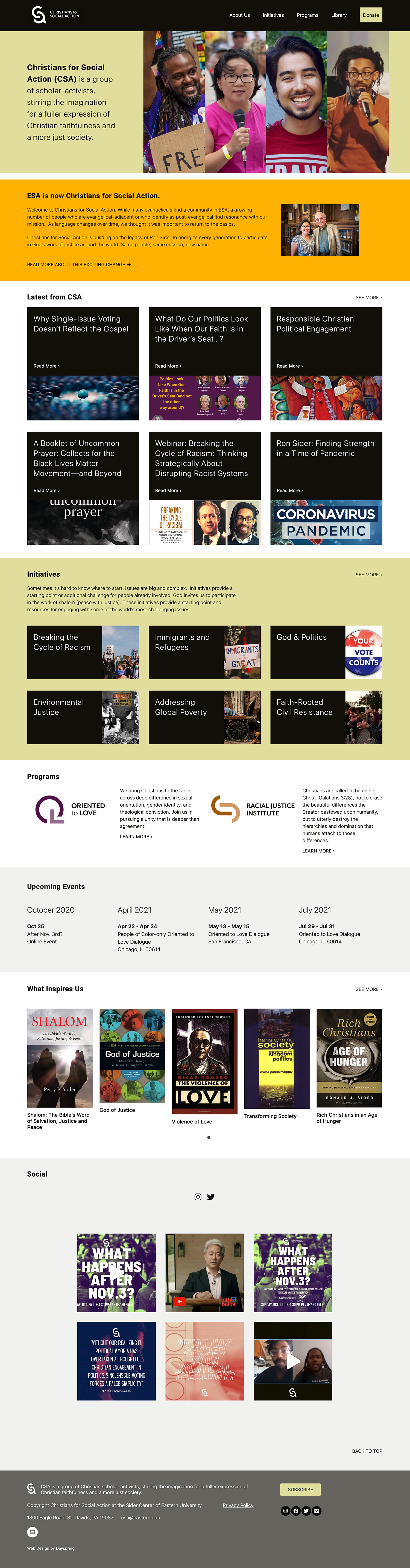 web home page featuring different sections for christians for social action